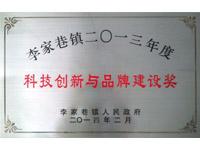 李家巷镇二0一三年度科技创新与品牌建设奖